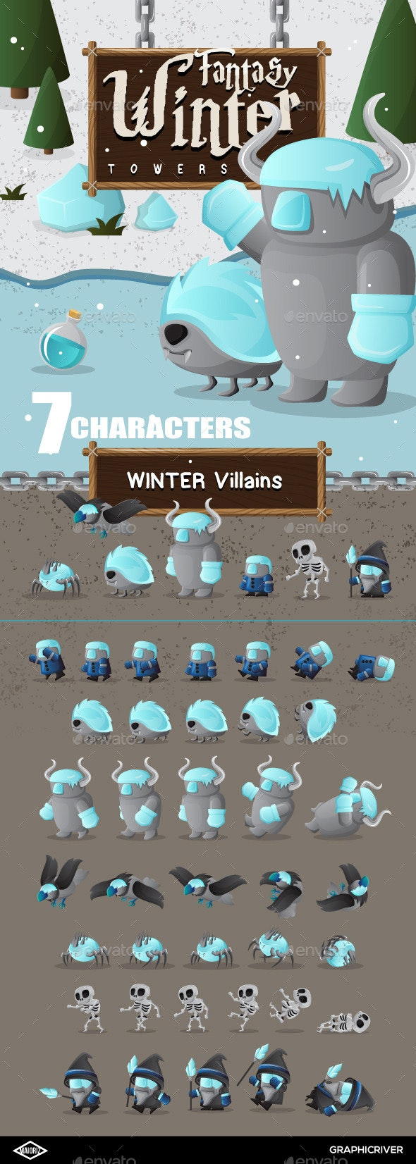Winter Characters Game - Sprites Game Assets