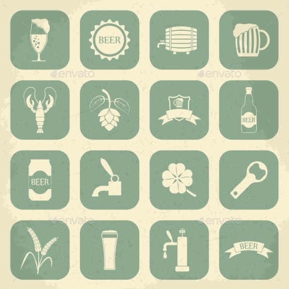 Retro Beer Icons Set - Food Objects