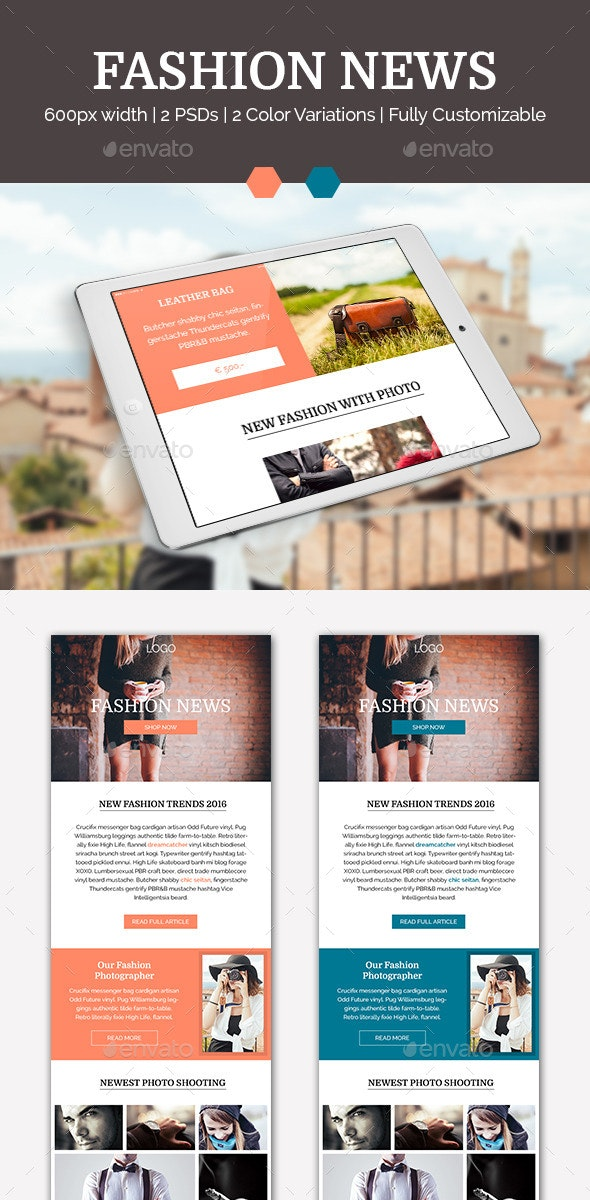 Fashion News - E-newsletters Web Elements
