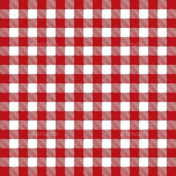Vector Red Checkered Pattern Tablecloth