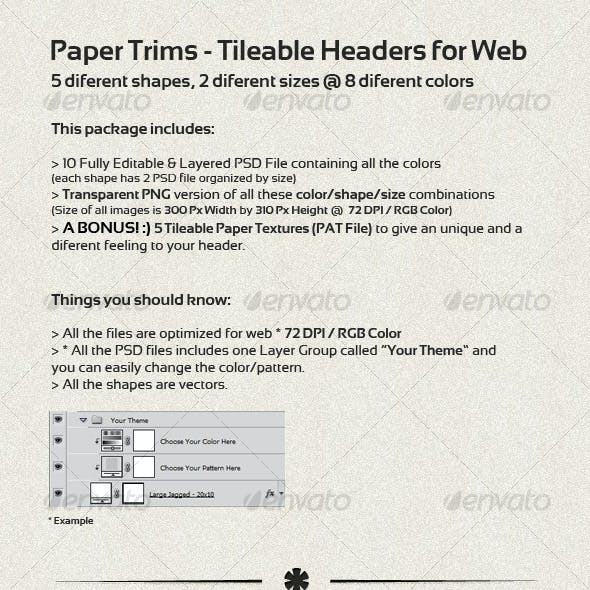 Paper Trims - Tileable Headers for Web
