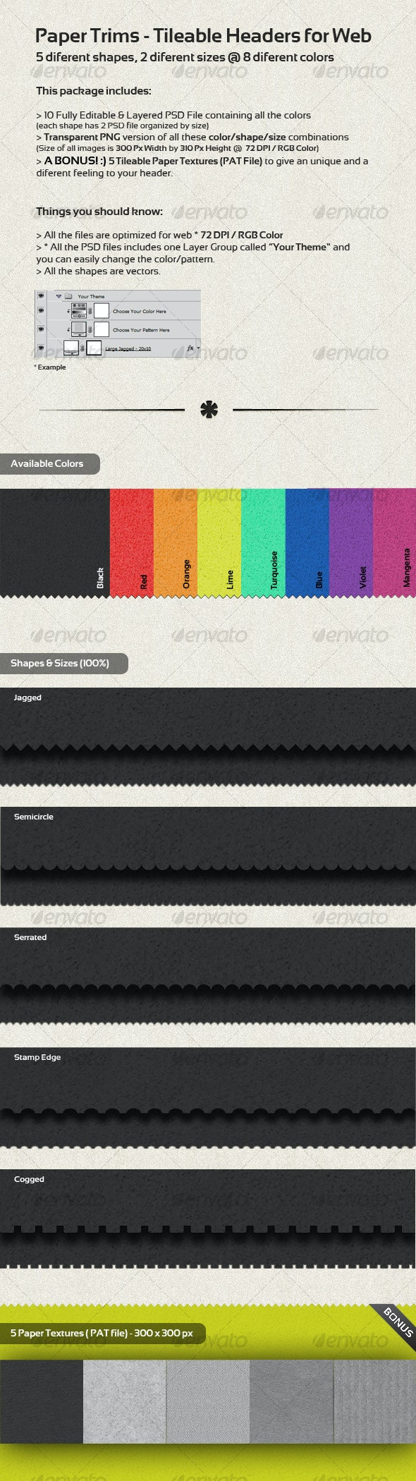 Paper Trims - Tileable Headers for Web - Miscellaneous Web Elements