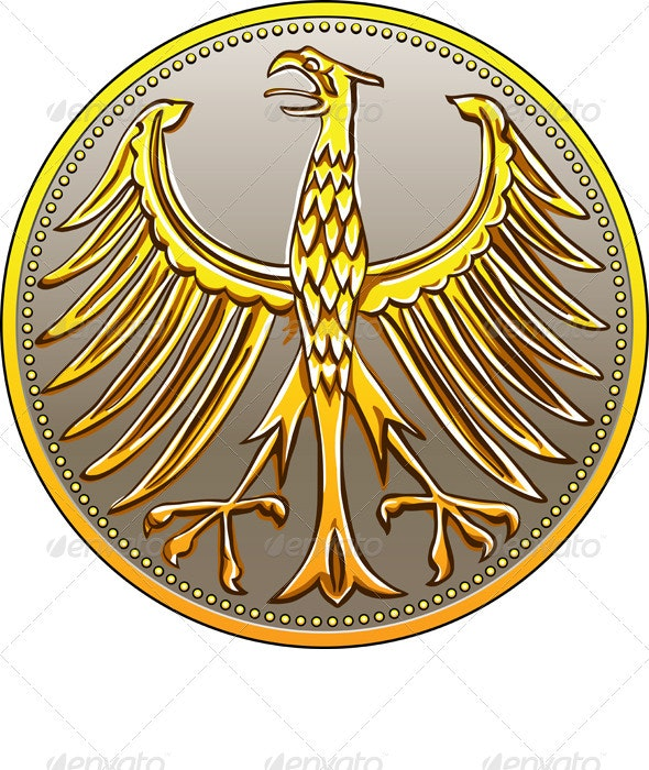 Vector Germany Money Gold Coin with Heraldic Eagle - Concepts Business