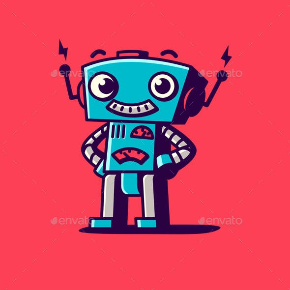 Retro Robot Character Logo