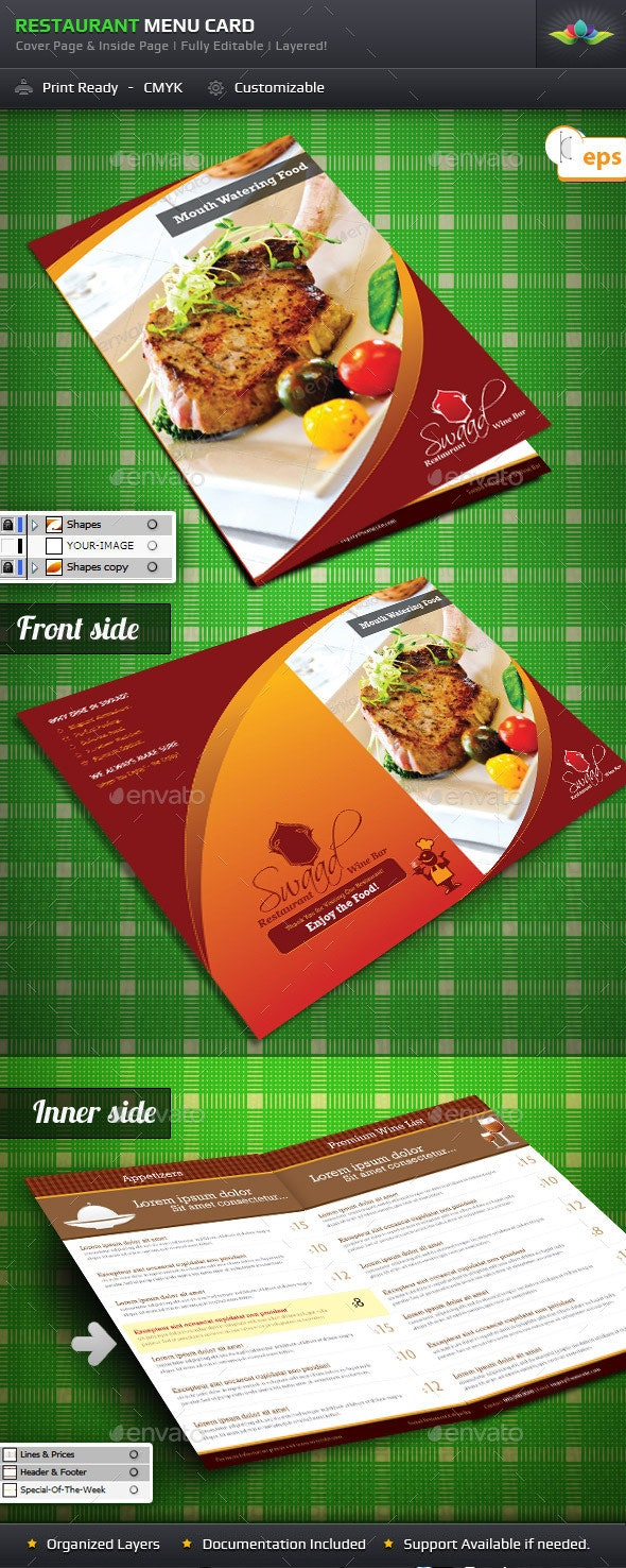 Restaurant Menu Card - Food Menus Print Templates