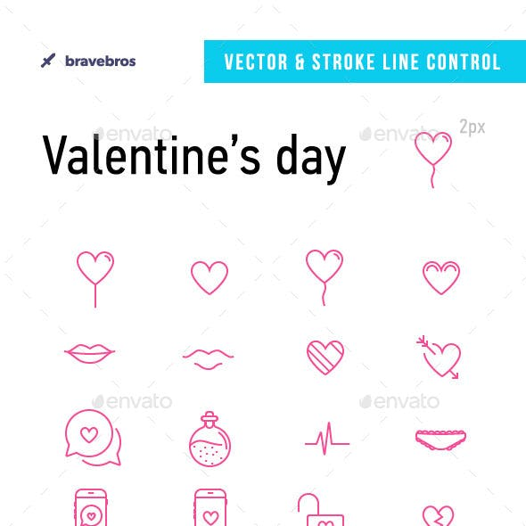 40 Vector Icons for Happy Valentine's Day