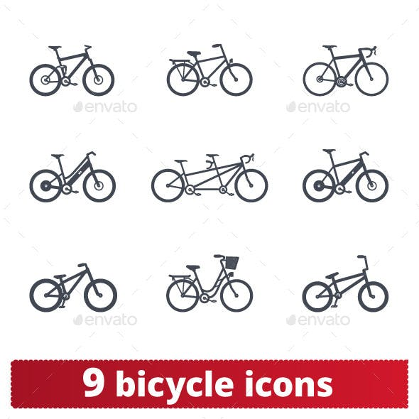 Bicycle Icons: Vector Set