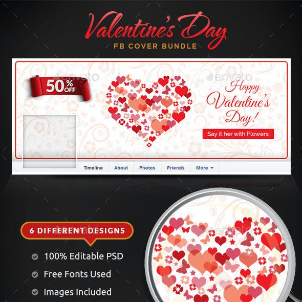 Valentines Day Facebook Cover Bundle - 6 Designs