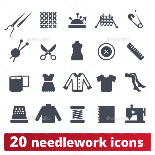 Fashion and Needlework Icons: Vector Set