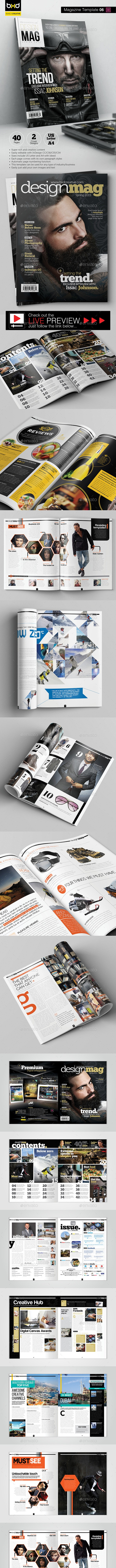 Magazine Template - InDesign 40 Page Layout V6 - Magazines Print Templates