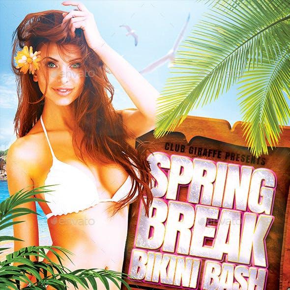 Spring Break Bikini Bash Flyer Template