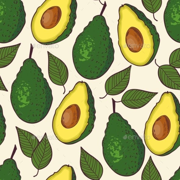 Seamless Pattern with Avocado and Leaf