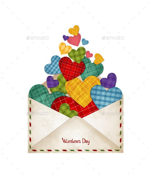 Envelope with Hearts - Valentines Seasons/Holidays