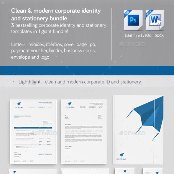 Clean & Modern Corporate ID & Stationery Bundle  1