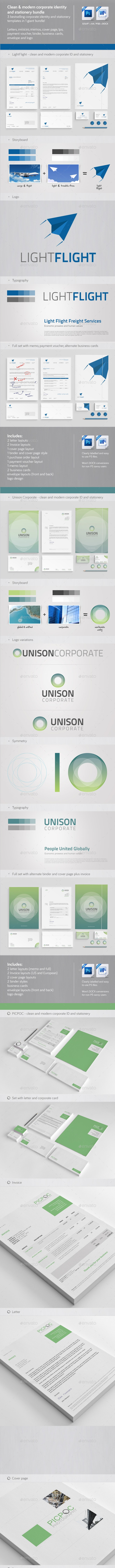 Clean & Modern Corporate ID & Stationery Bundle  1 - Stationery Print Templates