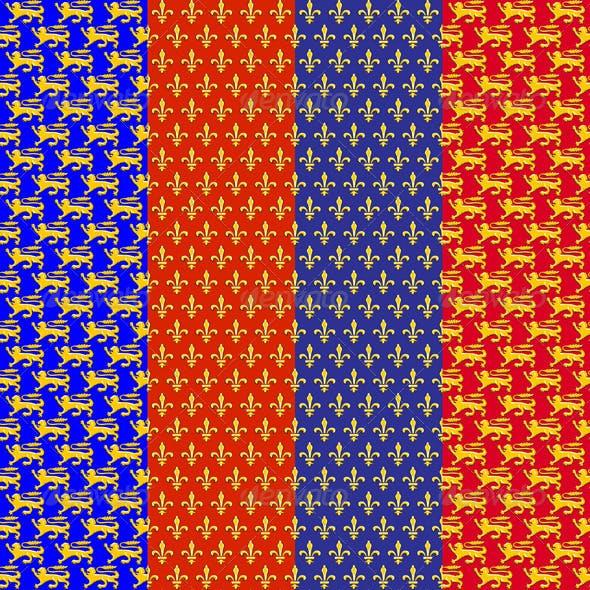 Vector Set of Heraldic Seamless Background
