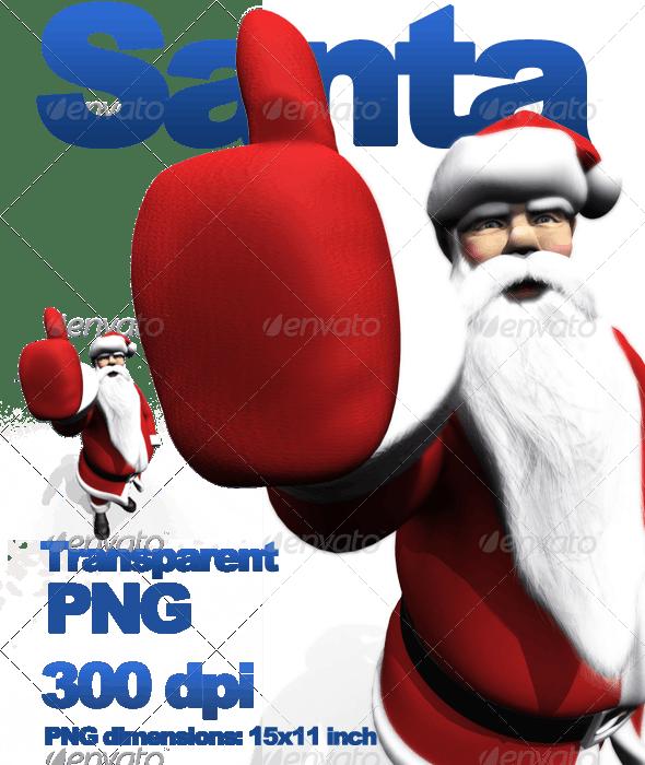 Santa Thumb's Up - Characters 3D Renders
