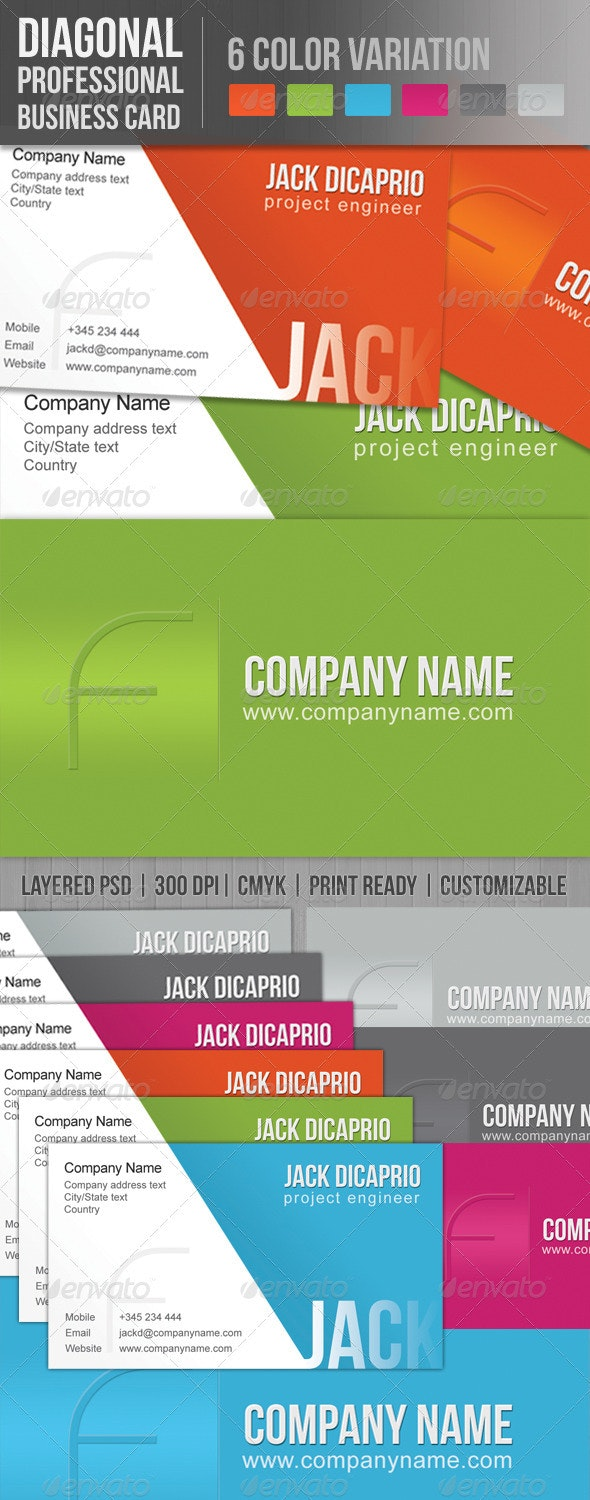 Diagonal Professional Business Card - Corporate Business Cards