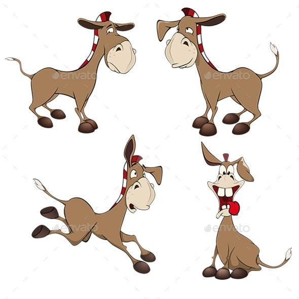 Set of Burros Cartoon