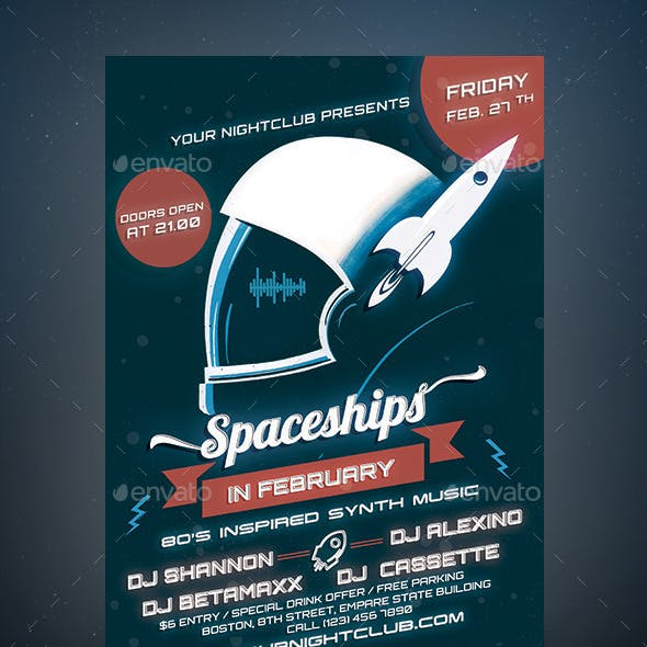 Spaceships Party Flyer