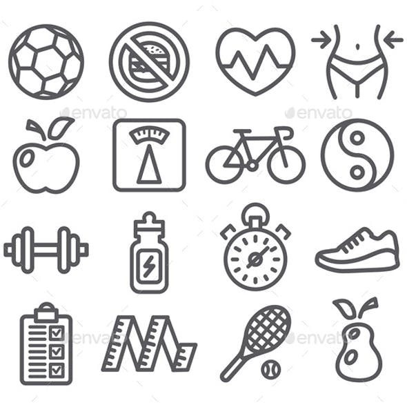 Health and Fitness Line Icons