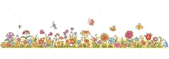 Horizontal Cartoon Flower Border
