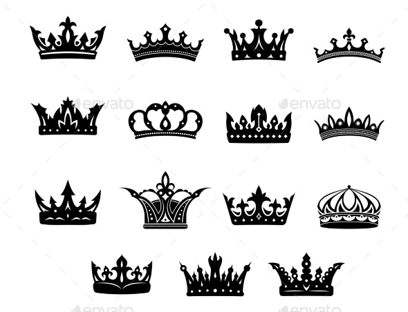 Set of Royal Crowns - Decorative Symbols Decorative