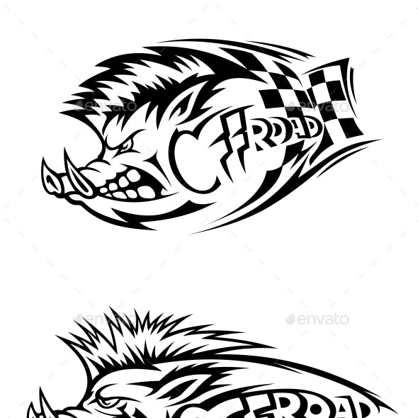 Snarling Wild Boar Off Road Icons