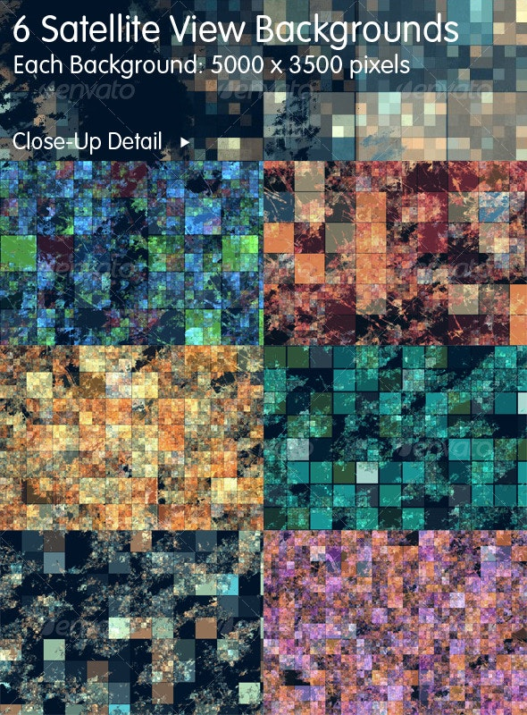 6 Abstract Satellite Views of Earth - Tech / Futuristic Backgrounds