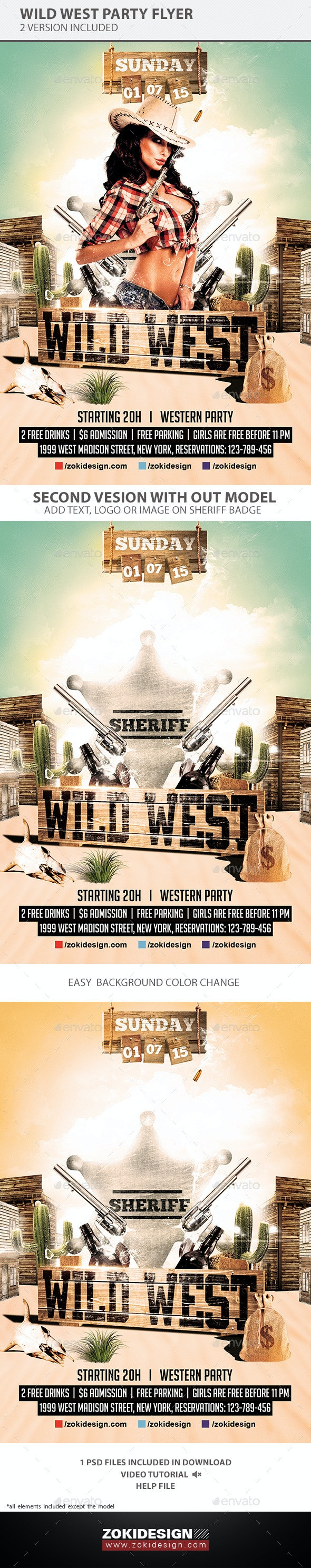 Wild West Party Flyer - Clubs & Parties Events