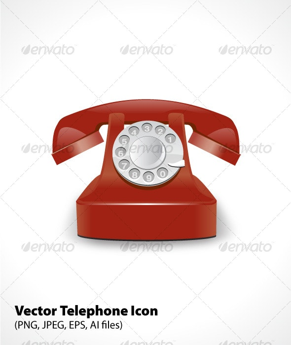 Vector Telephone Icon - Man-made Objects Objects