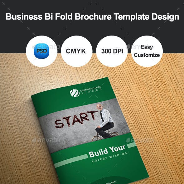 6 Pages Business Bi Fold Brochure Template Design