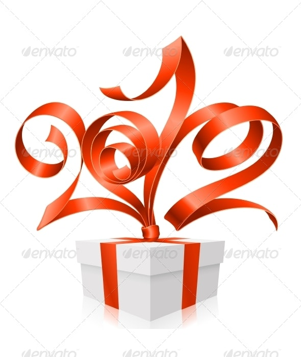 Vector Gift Box and Red Ribbon in the Shape 2012 - Christmas Seasons/Holidays
