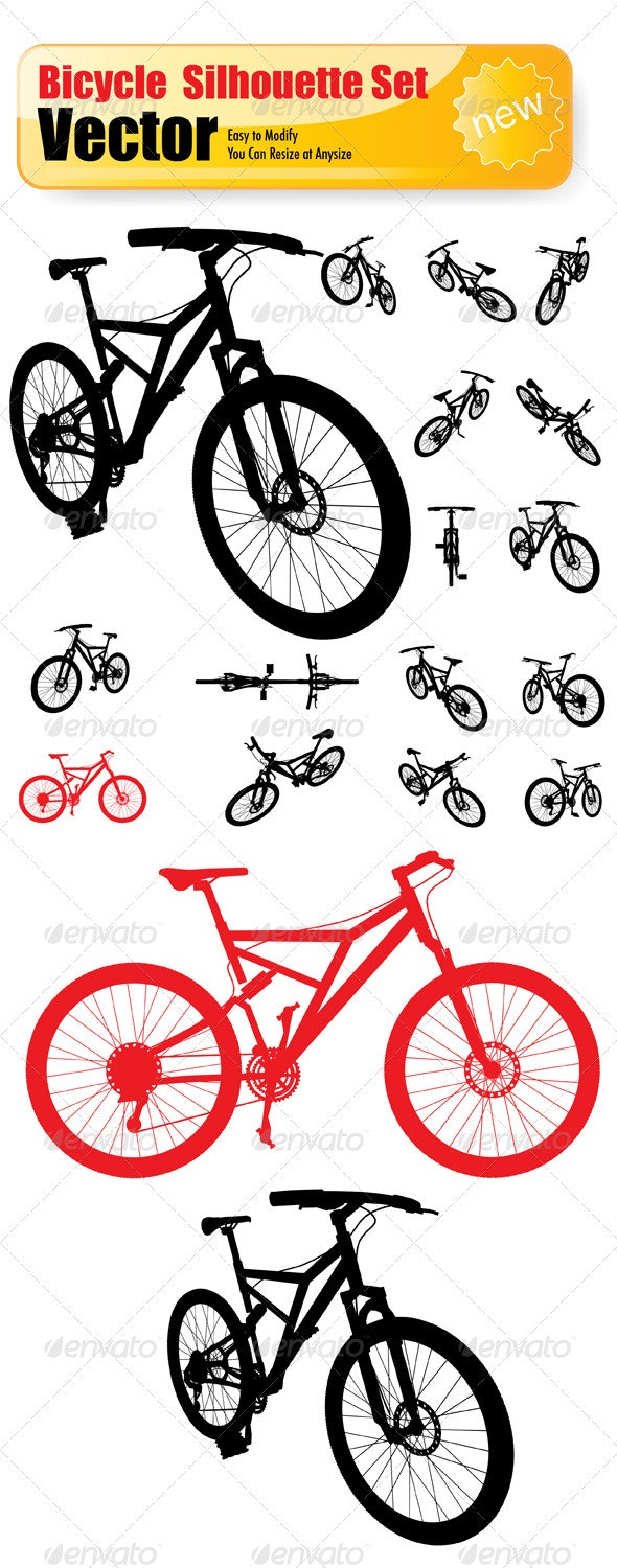 Vector  Bicycle Silhouette Set - Sports/Activity Conceptual