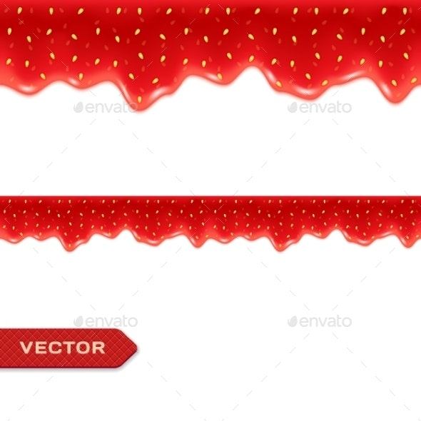 Strawberry Jam Drips Seamless Border - Borders Decorative