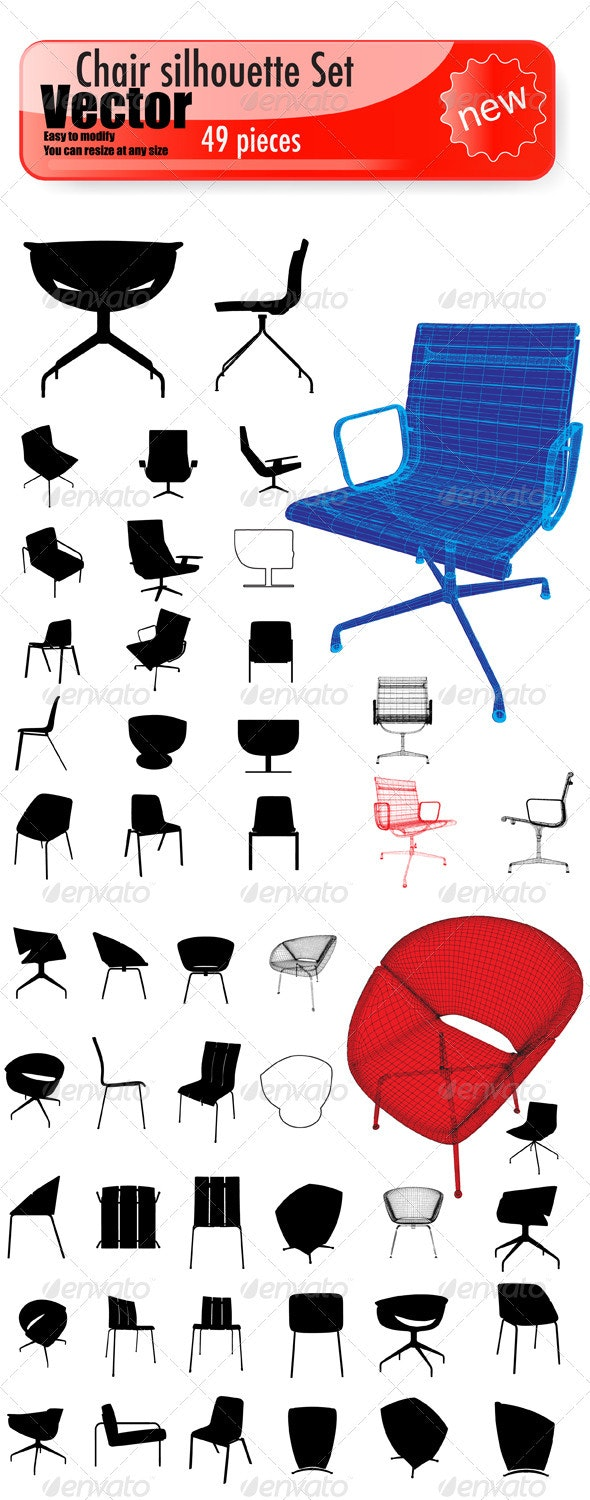 Vector Chair Silhouette Set - Man-made Objects Objects