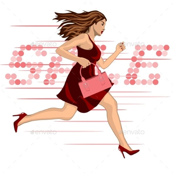 Woman Running to a Sale