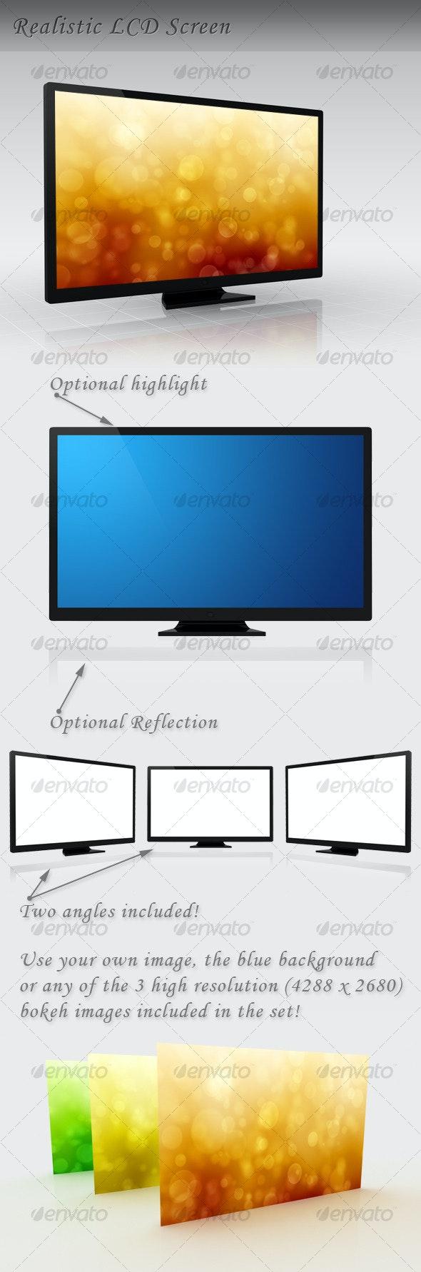 LCD TV / Monitor (+ Bokeh Background!) - Objects 3D Renders