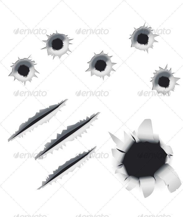 Bullet Holes and Slashes Vector Design Elements - Decorative Symbols Decorative