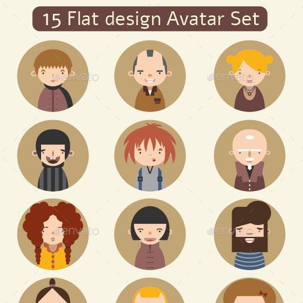 15 Flat Design Avatar Set