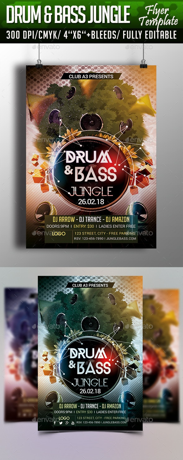 Drum and Bass Jungle Flyer Template - Clubs & Parties Events