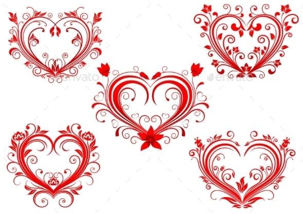 Floral Red Valentine Hearts Set - Valentines Seasons/Holidays