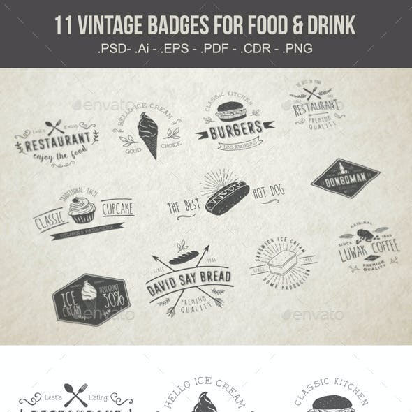Vintages Badges Food and Drink