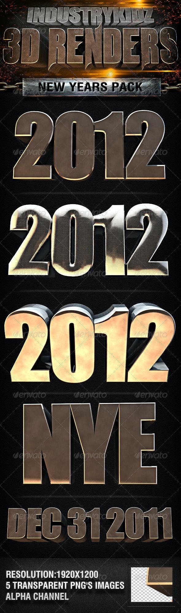 2012 New Year 3d Renders - 3D Renders Graphics