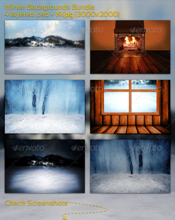 Winter Backgrounds Bundle - 3D Backgrounds