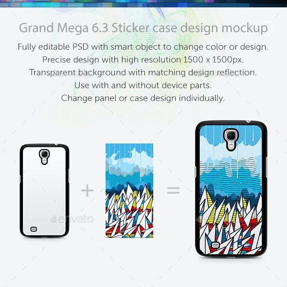 Grand Mega 6.3 Sticker Case Design Mockup