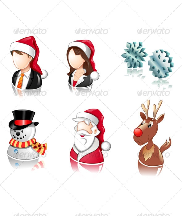 Christmas icon set with users, santa and deer  - People Characters