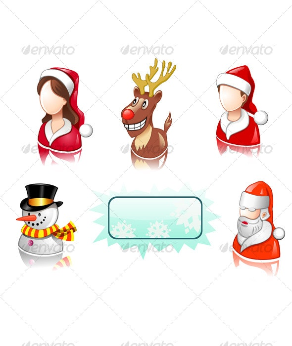 Christmas icon set with users, santa, snowman - People Characters