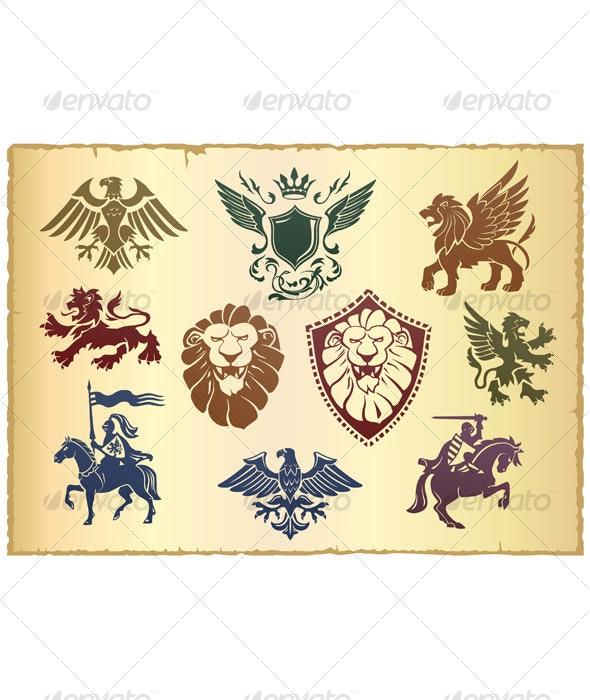 Heraldic vector set 01 - Characters Vectors