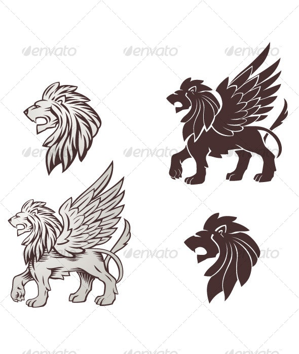 Winged Lion Illustration - Tattoos Vectors